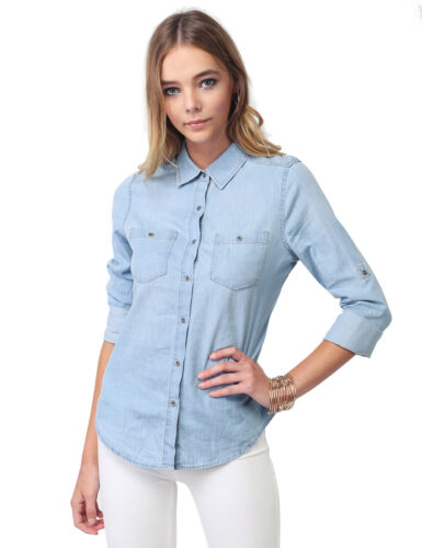 FashionOutfit Women Contemporary Button Down Roll-up Long Denim Shirt Blouse Top