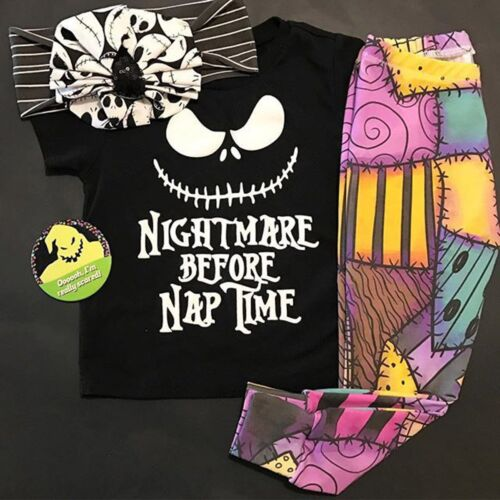 NIGHTMARE BEFORE NAP TIME Baby Toddler Girl t-Shirt & Leggings Outfits Clothes
