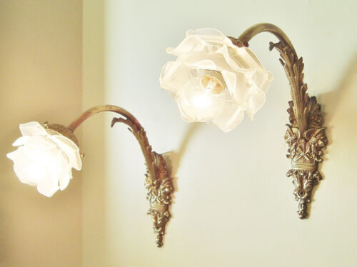 GORGEOUS PAIR ANTIQUE FRENCH FIGURAL SCONCES WALL LIGHTS BRONZE GLASS ROSE SHADE