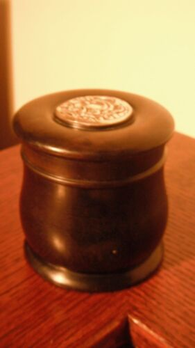 Antique Pure Ebony Box with Sterling Silver Lid inlay