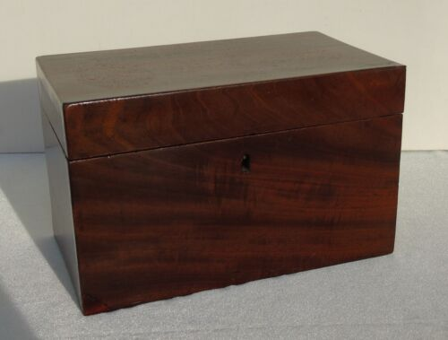 Antique English 19c Tea Caddy Box Flame Mahogany hinged lid 2 lidded compartment