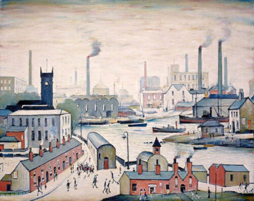 Canal and Factories  by LS Lowry   Giclee Canvas Print Repro