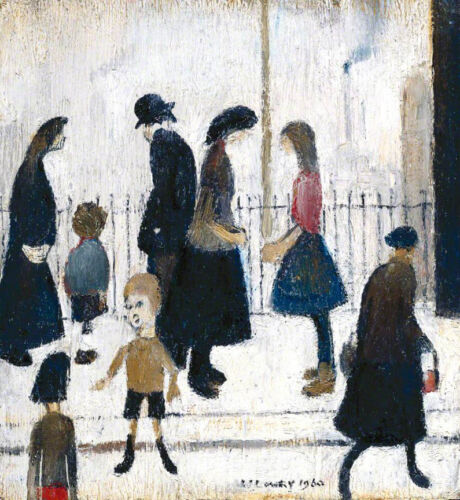 Figures in a Street  by LS Lowry   Giclee Canvas Print Repro