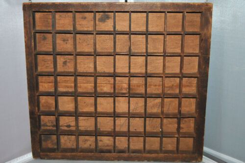 Antique Wood Shadow Box Trinket Figure Hanging Wall Display Cabinet 63 holes.