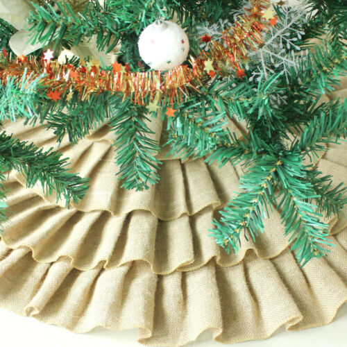 Christmas Tree Skirt Xmas Stand Cover Burlap Linen Jute Luxurious Layered Ruffle