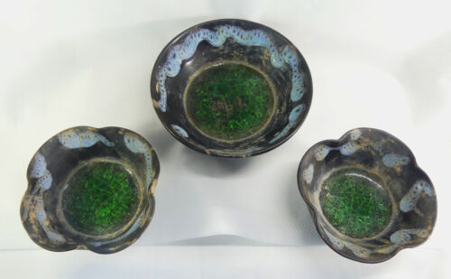 Set of 3 Chinese Song Dyn. Buddhist Offering Bowls w/Glass Insert of Green Lotus