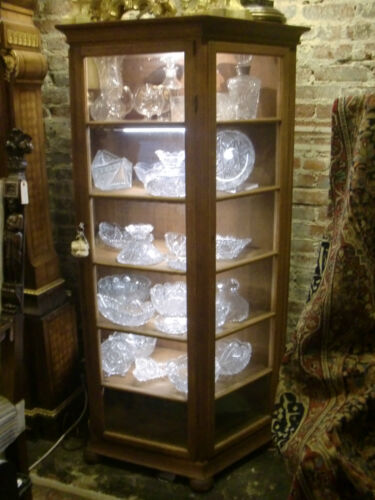 ANTIQUE OAK ARMOIRE VITRINE SHOWCASE,THREE DOOR ILLUMINATED  RARE 6 SHELVES