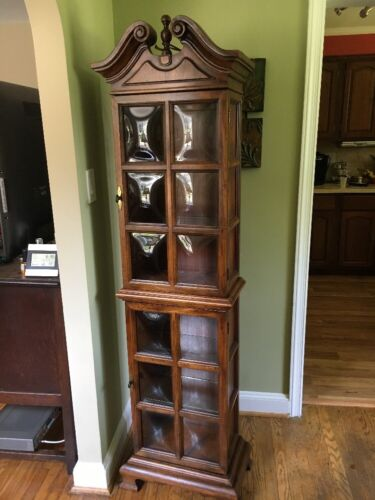 VTG Solid Wood Hollywood Regency China Curio Cabinet Bubble Glass Barrister Nice