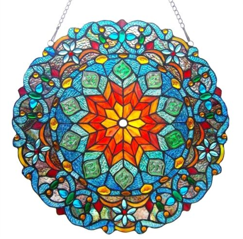 """Matching PAIR Colorful 21"""" Round Tiffany Style Stained Glass Window Panels"""