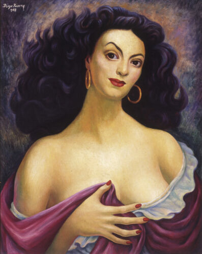 Portrait of María Félix  by Diego Rivera  Giclee Canvas Print Repro