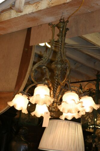 ANTIQUE  FRENCH  BRONZE SIX LIGHT CHANDELIER, TURN OF THE CENTURY