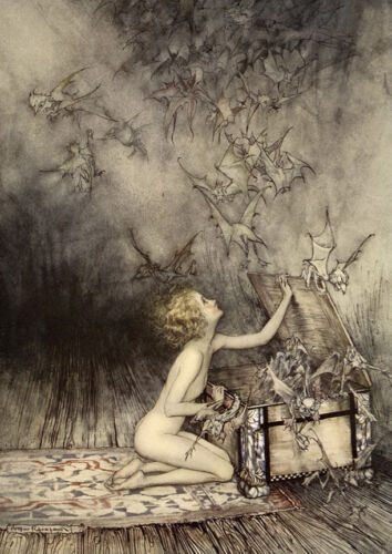 """A Sudden Swarm of Winged Creatures  by Arthur Rackham  20"""" Paper Print  Repro"""