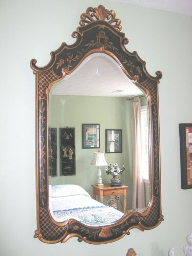 CHENOISERIE DESIGN LARGE HAND PAINTED LEATHER  BEVELED MIRROR