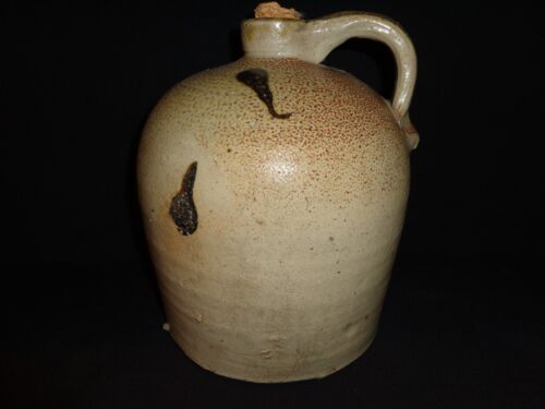 19th.c Antique Salt Glazed Stoneware Whiskey Drip Black Glaze Decorated Jug