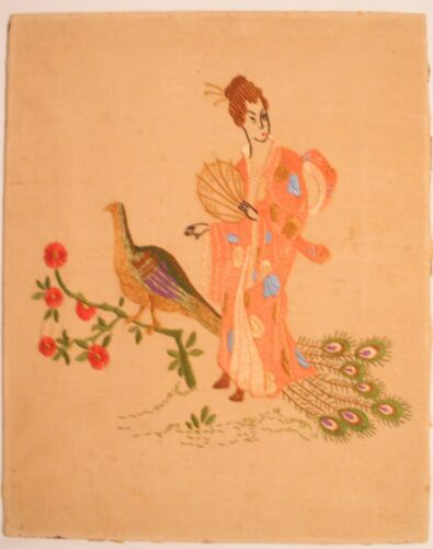 Old Vintage Chinese Tapestry Woman Traditional Clothing Hand-Held Fan Peacock