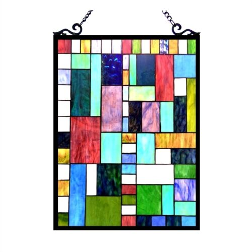 """Stained Glass Tiffany Style Window Panel Modern Arts & Crafts Design 18"""" x 24"""""""