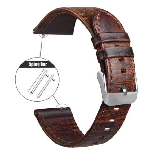 18 20 22mm Quick Release Pin Retro Leather Watch Band Replace Wrist Strap Bands