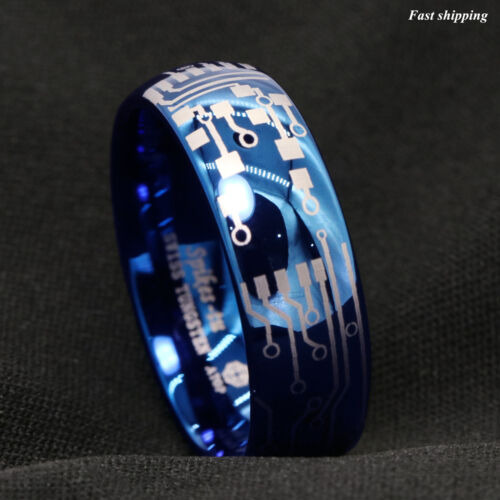 8mm Shiny Blue Dome Tungsten Carbide Ring Laser Circuit Board ATOP Men's Jewelry