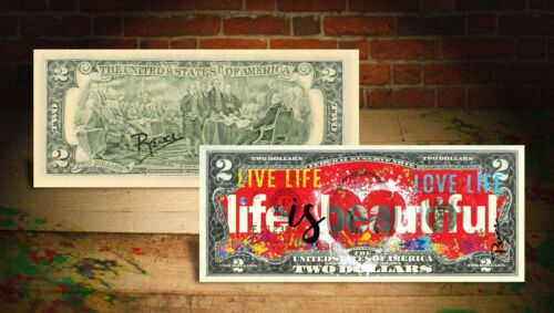 LIFE IS BEAUTIFUL Red Heart Genuine $2 U.S. Bill - HAND-SIGNED by Rency ART