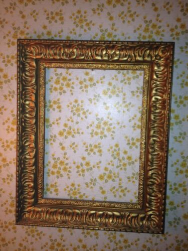 antique Italian hand carved wood gold gilt picture frame