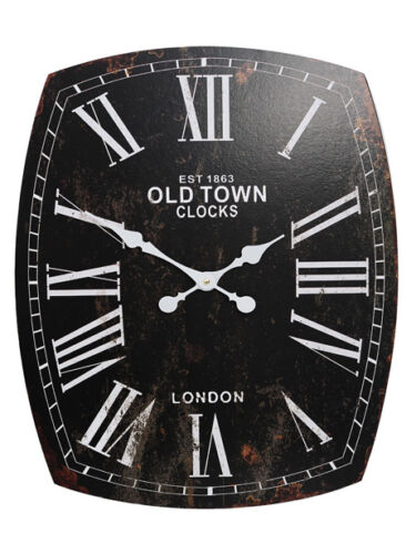 Vintage Shabby Chic Style Black Clock - Old Town