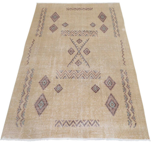 "Moroccan Beni Ourain Style Oushak Rug. Low Pile Knotted Turkish Rug 58"" x 96"""