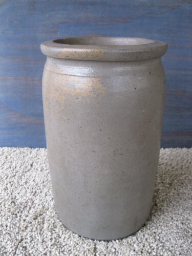 Antique Crock Primitive Stoneware Pottery, 1/2 Gallon, Circa 1870, Salt Glazed