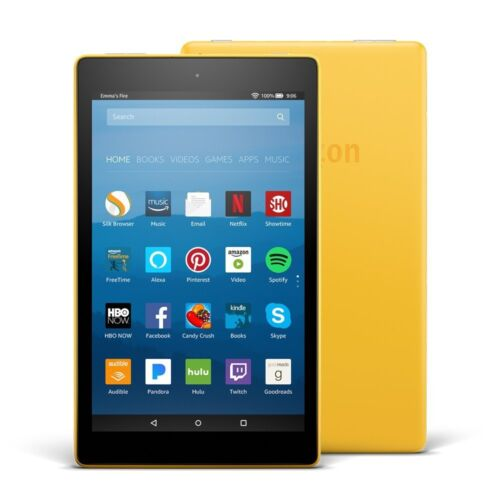 "Amazon Fire HD 8 Tablet E-Reader with Alexa, 8"" HD Display, 16 GB – Yellow"
