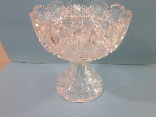 """Exceptional ABP American Brilliant Period Cut Glass Punch Bowl 10"""" Rd 11"""" Tall"""