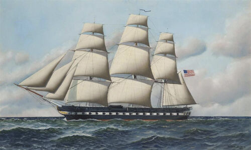 The USS Constitution in Full... by Antonio Jacobsen   Giclee Canvas Print Repro