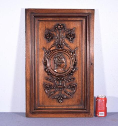 French Antique Hand Carved Panel/Door in Walnut Wood with Portrait of a Woman
