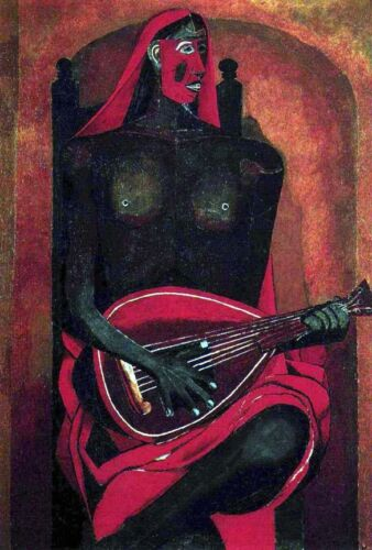 The Woman with a Red Mask  by Rufino Tamayo  Giclee Canvas Print Repro