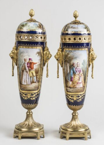 19C Antique Pair Sevres Porcelain Gilt Bronze Vases Artist Signed