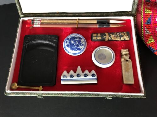 Old Chinese Calligraphy Set in Presentation Box …beautiful collection item