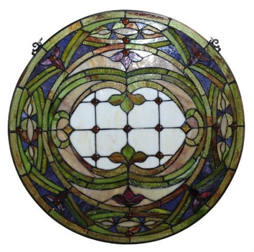 "Victorian Hand-crafted Stained Glass 24"" Round Window Panel 268 Pieces Cut Glass"