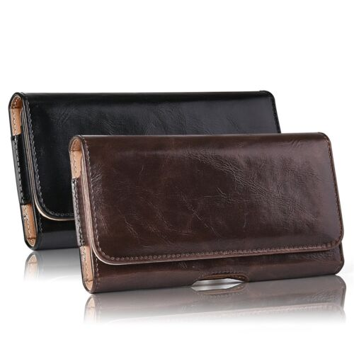 Horizontal Carry Leather Belt Clip Holster Pouch Case Cover for iPhone Samsung