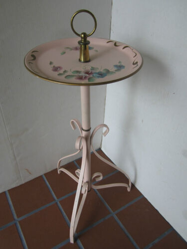 """MID CENTURY Toleware metal stand TABLE scroll legs retro USA 1940's Pink 27""""T"""