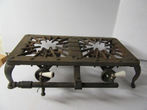 Antique Vintage Peerless Cast Iron 2 Burner Stove Camp Canning Porcelain ME