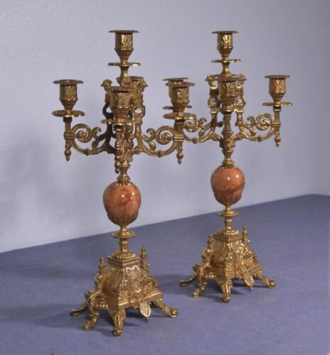"*17"" Tall Pair Vintage French Bronze Candelabra/Candlesticks w/Marble Inserts"