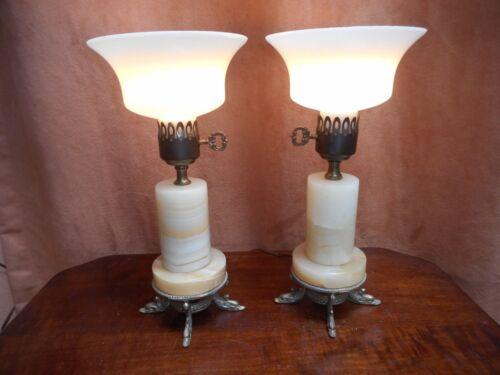 A PAIR OF FINE ART DECO ONYX LAMPS W/ DOLPHIN ORMOLU MOUNTS
