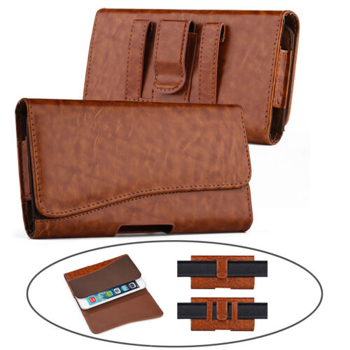 Horizontal Leather Carry Belt Clip Pouch Case for Samsung S 9/10+ iPhone Xs Max
