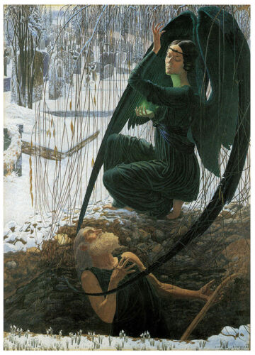 The Grave Diggers Death by Carlos Schwabe  Giclee Canvas Print Repro