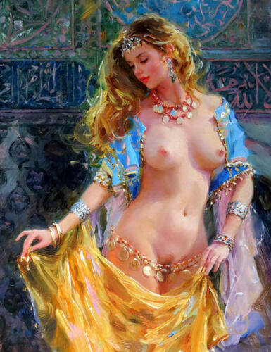 Wall art Nude belly dancer oil painting HD printed on canvas L1560