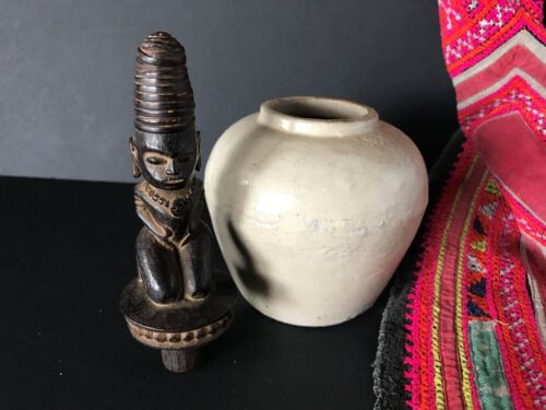 Old Batak Stone Jar with Carved Wooden Stopper …beautiful collection piece