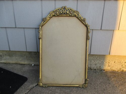 Antique Hammered Gold Metal Relief Picture or Mirror Frame