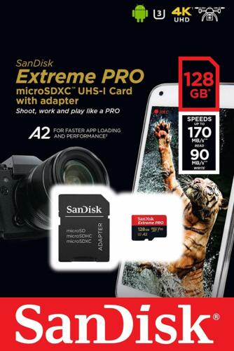 Sandisk 128gb Extreme Pro 170mb/s Micro Sd Microsdxc Uhs-i U3 A2 V30 Memory Card