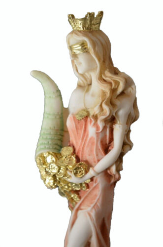 """Goddess Of Wealth Tyche Lady Luck Fortuna Handpainted Statue Alabaster 8.6"""""""