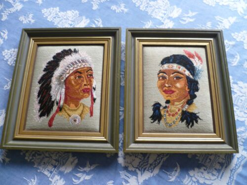 RETRO VINTAGE QUALITY PETIT POINT TAPESTRY PAIR OF INDIAN HEADS SUPERB WORK