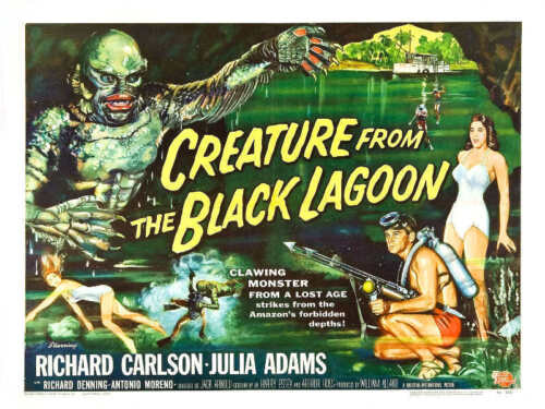 1954 CREATURE FROM THE BLACK LAGOON VINTAGE MOVIE POSTER PRINT STYLE D 18x24
