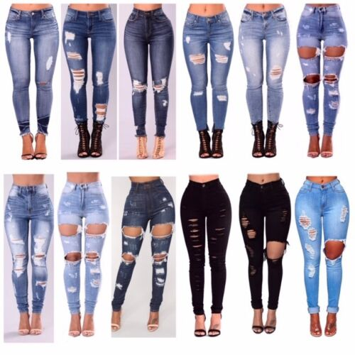 WOMENS LADIES GIRLS HIGH WAISTED EXTREME RIPPED SLIM SKINNY JEANS SIZE 6-22 <br/> PLUS SIZE AVAILABLE, BLUE BLACK GREY DENIM STONEWASHED